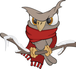 Owl in the winter cartoon