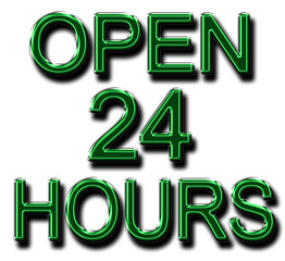 A glowing OPEN 24 HOURS sign in green