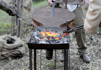 A brazier for melting iron