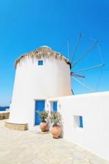 Famous Mykonos Windmills, Mykonos, Greece.