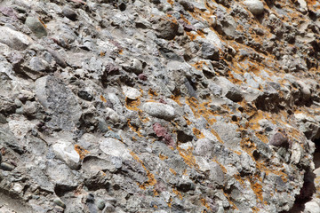 Conglomerate rock on the hills Hemis Monastery, Leh