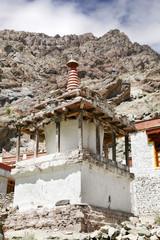 Stupa and sedimentary rocks, Hemis Monastery complex, Leh
