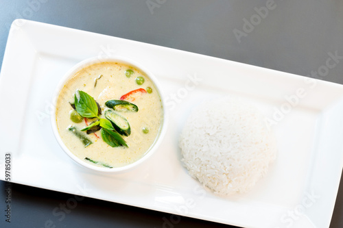 Green Curry with jasmine rice