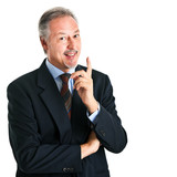 Businessman pointing his finger up