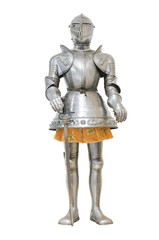 Medieval knight armour over white isolated background