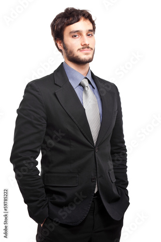 Confident young businessman isolated on white