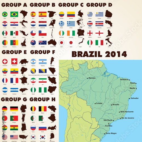 Brazil 2014 world cup, football flags icons and maps