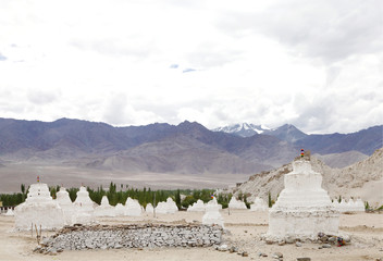 Ancient Stupas near the campus of Druk White Lotus school Leh