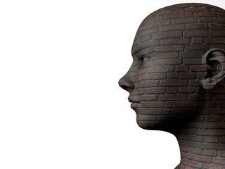 Female head and brick texture
