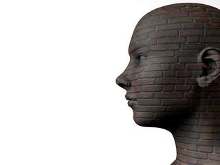 Female head and brick texture