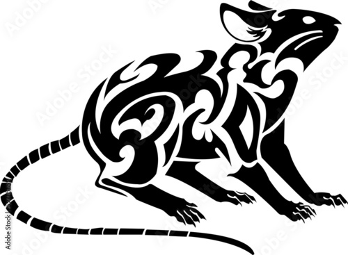 Illustration - zodiac of rat on white background