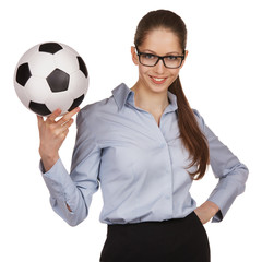 Confident woman with a soccer Ball