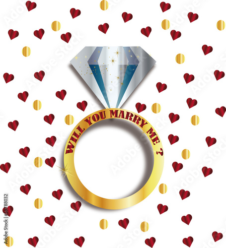 will you marry me ring diamant vector , i love you