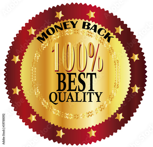 Vector gold sign, label 100% BEST QUALITY