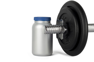 tin and weights.