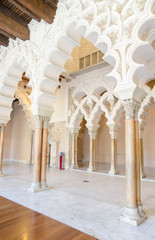 Arabic arches at Aljaferia Palace in Zaragoza, Spain