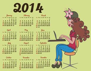 2014 calendar with fashion girl