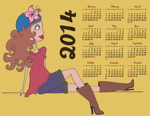 2014 calendar with fashion girl