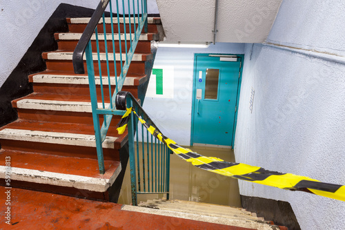 Flooded Car Garage Staircase