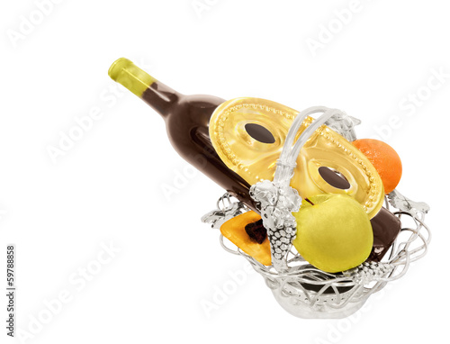 Jewish Purim holiday silver fruit basket, wine bottle, isolated