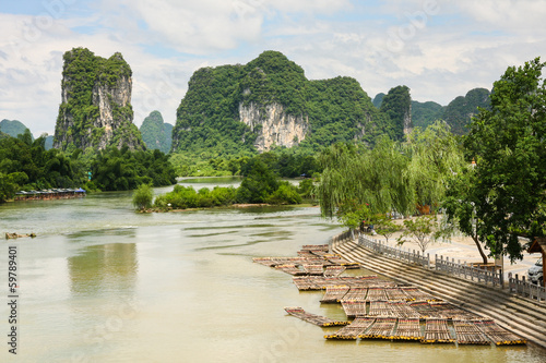 Bamboo rafts in idyllic li river scenery yangshuo china