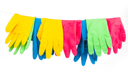 cleaning equipment isolated on white - gloves