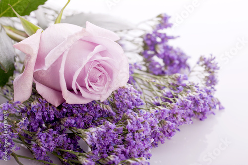 Deurstickers Lavendel beautiful lavander and pink rose on .bright background