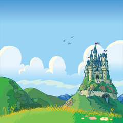 fantasy background with castle vector cartoon