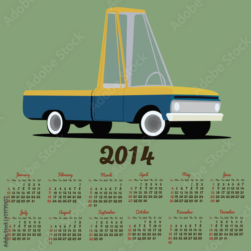 2014 calendar with a cartoon car