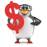 Academic penguin holds a US Dollar symbol