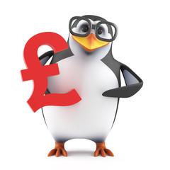 Academic penguin holds a UK Pound symbol