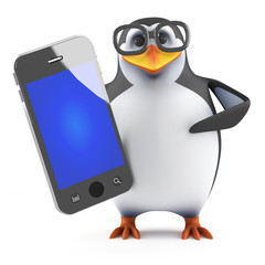 Academic penguin with a new smartphone