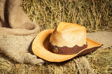 Cowboy hat lying on straw.