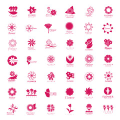 Flower Icons Set - Isolated On White Background