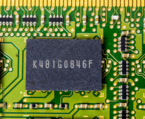 Single memory chip on a computer board