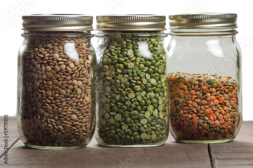 jars of lentils on a counter