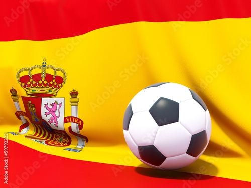 Flag of spain with football in front of it