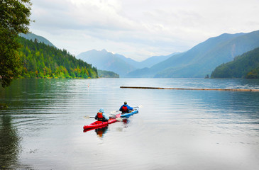 Kayaking on Crescent Lake in Olympic Park, USA