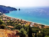aerial view of corfu coast greece and mediteranean sea