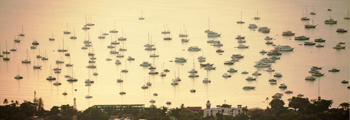Many ships and yachts in the  Phuket harbor.