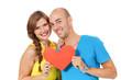 Leinwanddruck Bild - junges glückliches verliebtes paar mit rotem herz liebe isolier