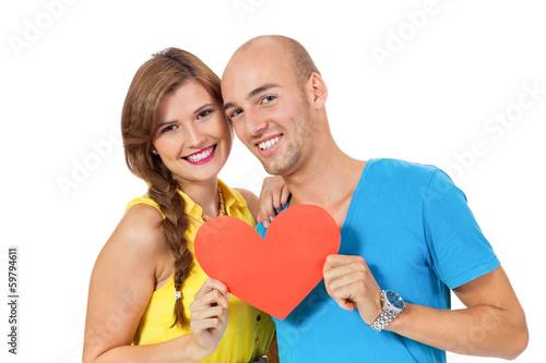 Leinwanddruck Bild junges glückliches verliebtes paar mit rotem herz liebe isolier