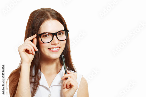 woman in glasses pointing