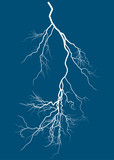 bright lightning isolated on blue background