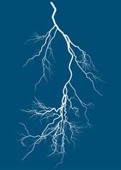bright lightning isolated on blue background