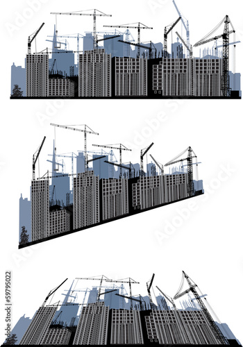 distored grey house building and cranes