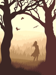 Vertical illustration within forest with silhouette girl in the