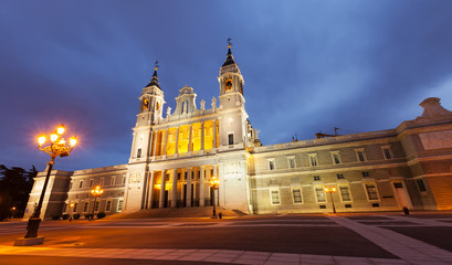 Almudena cathedral in twilight. Madrid