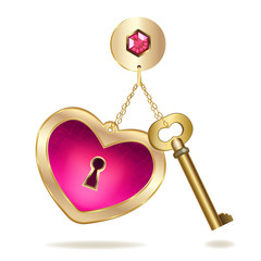 Gold keychain with heart and jewel.