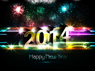 2014 text design Happy new year bright colorful vector